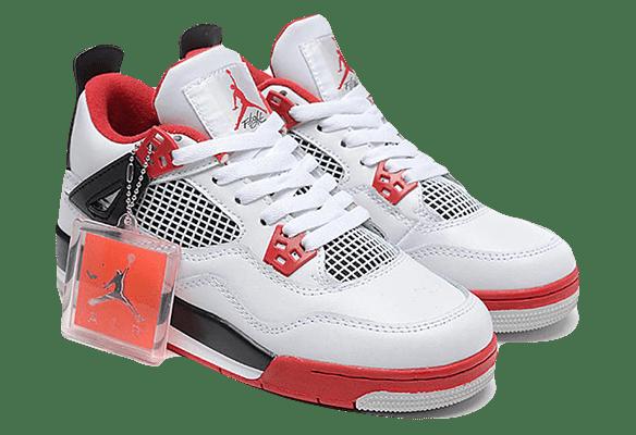 Nike Air Jordan 4 Retro Черно-белые с красным