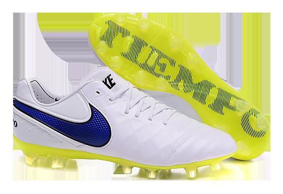 Nike Tiempo Legend V FG Белые с желтым