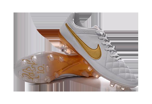 Nike Tiempo Legend V FG Белые с Золотым