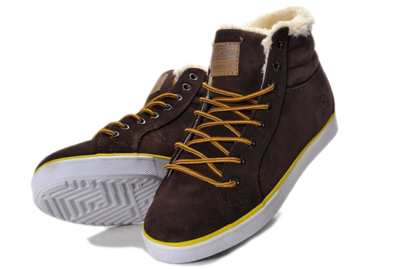 Кеды Adidas Ransom С натуральным мехом коричневые