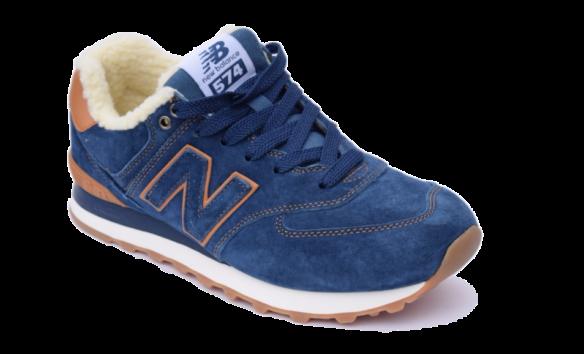 New Balance 574 Зимние с мехом синие