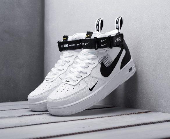 Nike Air Force 1 07 Mid LV8 черно-белые