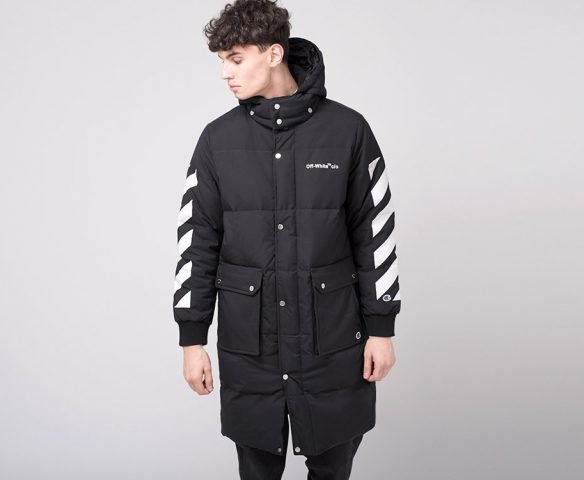 Куртка зимняя OFF-WHITE черно-белая